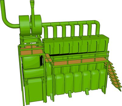 Green colored machine vector or color illustration
