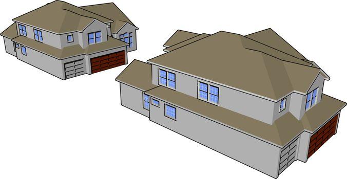 Permanent or semi permanent residence vector or color illustrati