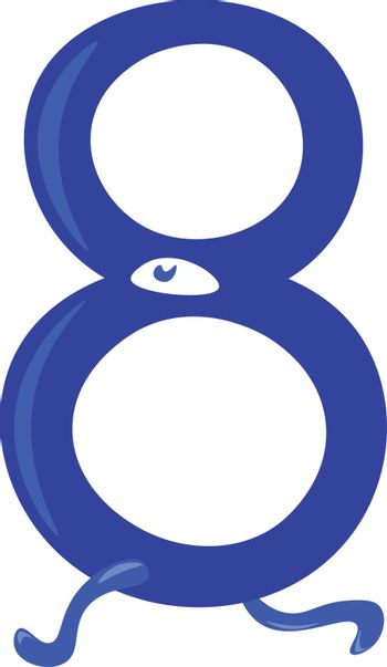Blue animal shaped numerical number eight vector or color illust