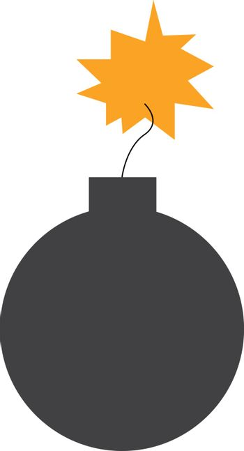 Explosive bomb string on fire vector or color illustration