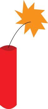 Explosive dynamite on fire vector or color illustration