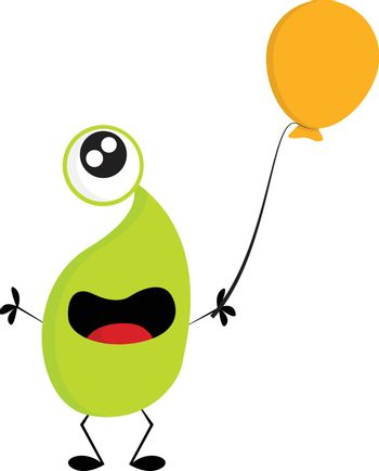 One-eyed green monster with an yellow balloon vector illustratio