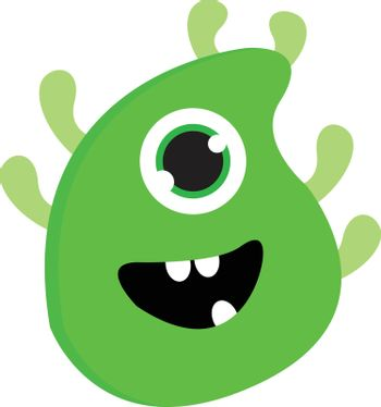 Happy one-eyed green monster with four arms and green horns vect