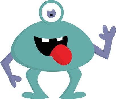 Happy blue one-eyed monster with violet arms and open mouth vect
