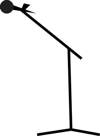 A mic on a tripod boom stand vector color drawing or illustration