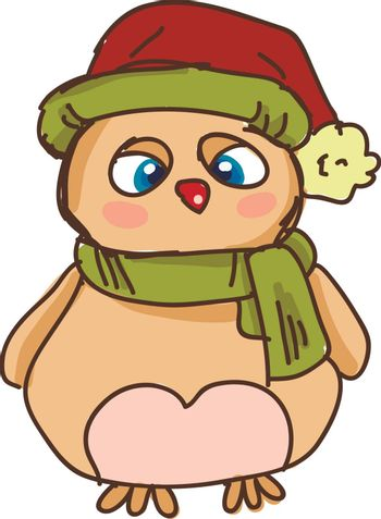 A grumpy owl wearing a green muffler and a red stocking hat vector color drawing or illustration