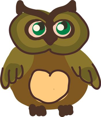 A chubby owl with big green eyes vector color drawing or illustration