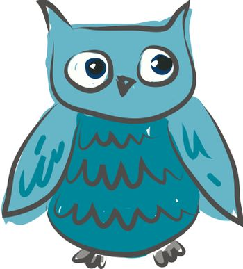 A blue owl with big blue eyes curiously looking towards his left vector color drawing or illustration