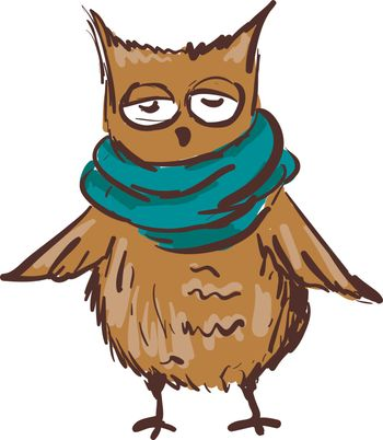 A sleepy looking owl wearing a blue muffler with both wings open vector color drawing or illustration