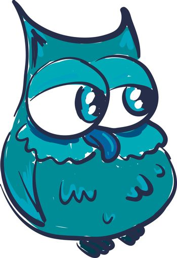 A drawing of green owl with a big tummy and a long beak vector color drawing or illustration