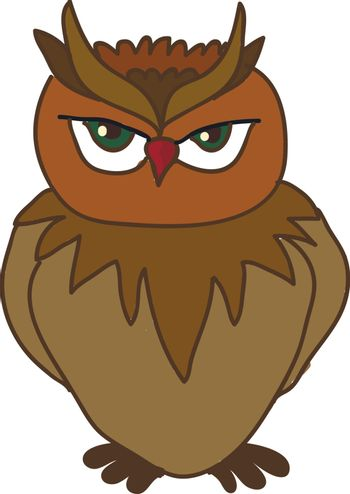An angry looking owl with red beak vector color drawing or illustration