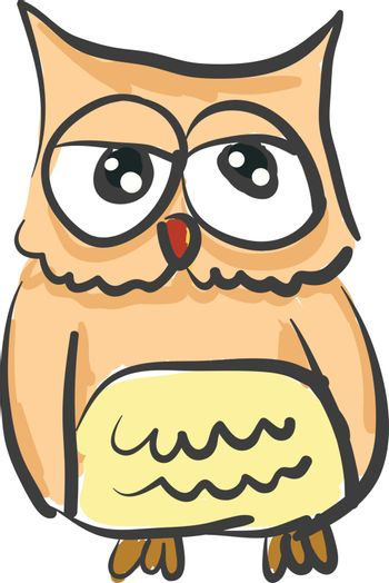 An owl with lippy eyes vector color drawing or illustration