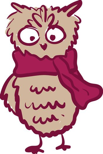 A tall owl wearing a bright pink scarf vector color drawing or illustration