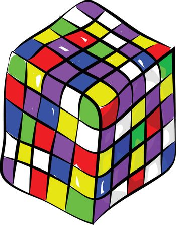 Rubik's cube a color combination puzzle enjoyed by all ages vect