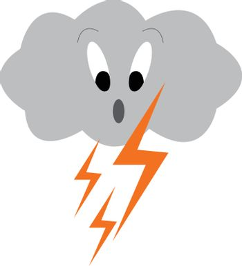 Dark cloud with thunder struck symbolizing the thunderstorm vect