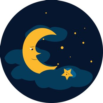 Clipart of a blue sky with bright twinkling stars and moon vecto
