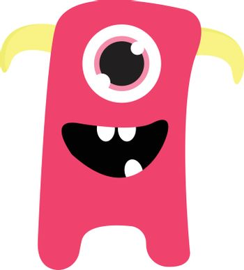 Cute smiling pink one-eyed monster with yellow horns vector illu