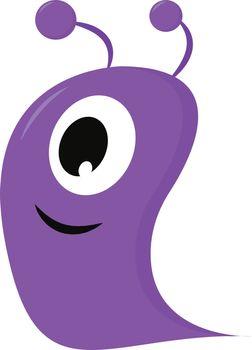 One-eyed smiling purple blob monster vector illustration on whit
