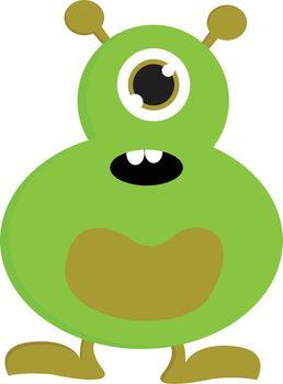 Surprised green one-eyed monster vector illustration on white ba