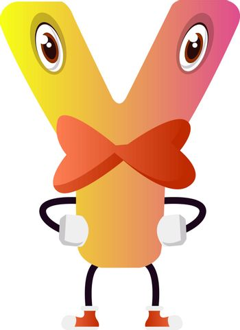 Yellow letter Y with bowtie vector illustration on white backgro