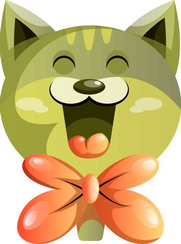 Happy green cat with orange bowtie vector illustartion on white