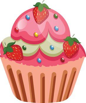 rut cupcake with strawberries as a roastingillustration vector o