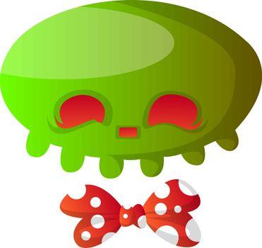 Green cartoon skull with red bowtie vector illustartion on white