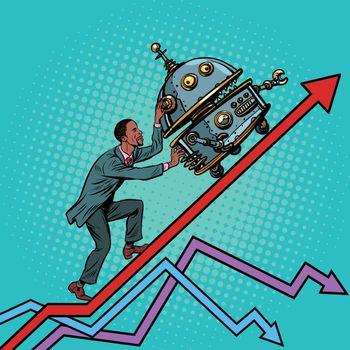 Robotization and technical revolution concept. Businessman pushe