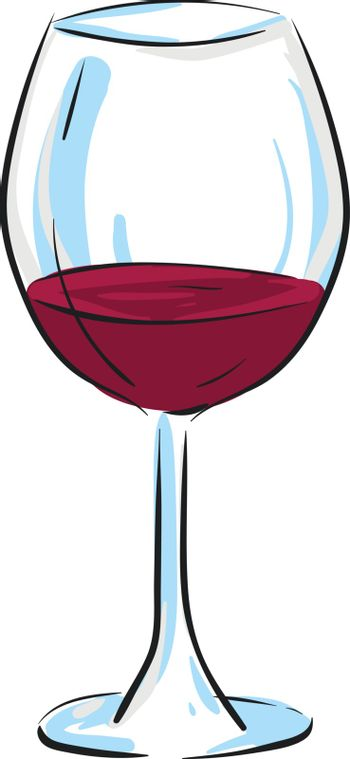 Cartoon champagne glassware filled with red wine vector or color