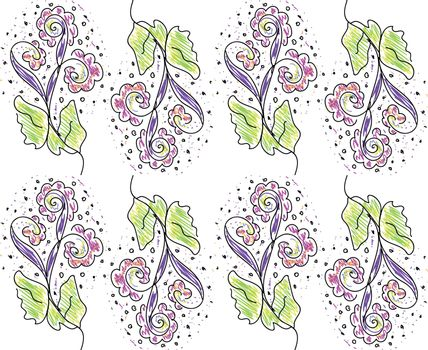 The texture of a regular pattern of spring with flowers in multiple colors vector color drawing or illustration