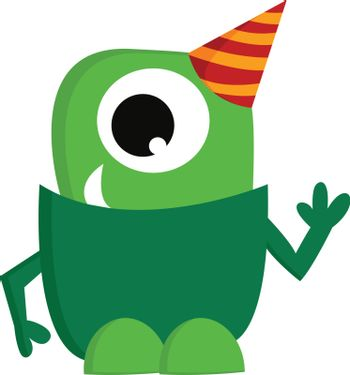 A green monster wearing a party hat vector or color illustration