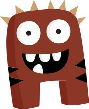 Dark brown stripped excited monster vector or color illustration