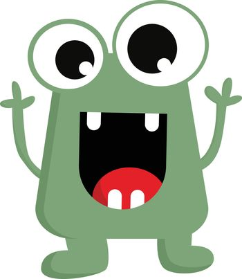 The happy green little monster vector or color illustration