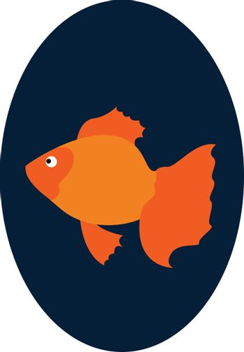 A Goldfish swimming in the fishbowl looks beautiful vector or co