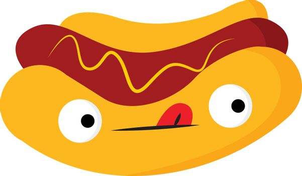 The cute and yummy hotdog vector or color illustration