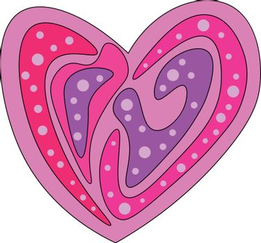 A heart multi-colored with regular patterns and designs symbolize love vector color drawing or illustration