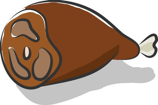 Cooked cartoon leg of meat that is yummy and delicious vector or