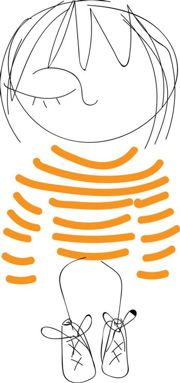 A cute little cartoon girl in her orange striped dress vector or