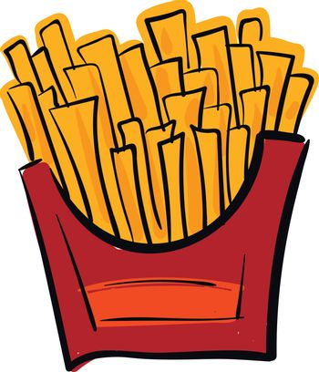 French potato fries in a red box vector or color illustration