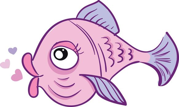 A pink-colored love fish with heart shape bubbles over white bac