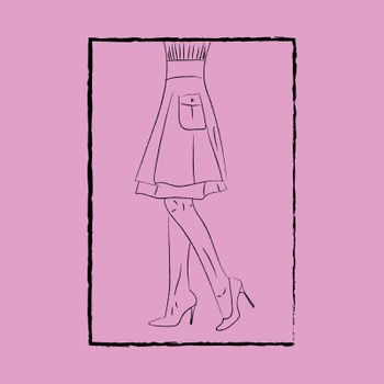 Line art of the body of a beautiful woman with her gown knitted with a pocket and legs with fashionable heels enclosed in a black rectangular frame vector color drawing or illustration