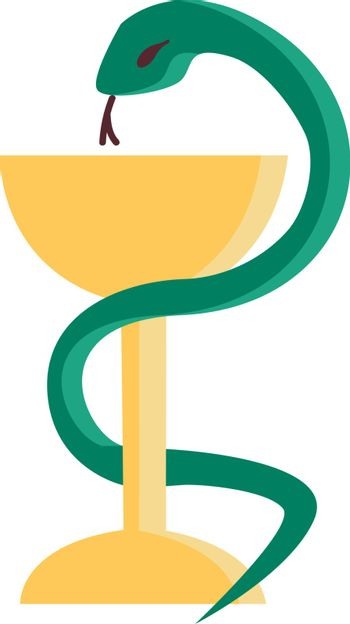 A green serpent coiled to champagne glassware vector or color il