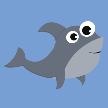 Grey-colored cartoon shark over blue background with bulging eye