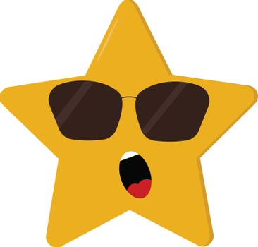 A dismayed five-pointed cartoon yellow star vector or color illu
