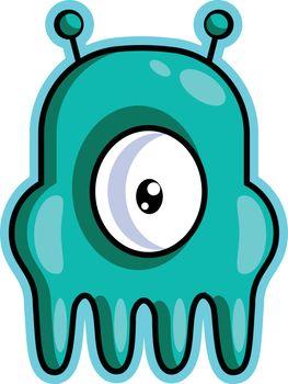 One eyed gaming monster  illustration vector on white background