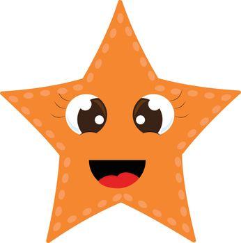 A cute little orange-colored cartoon sea star laughing vector or