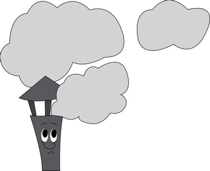 Smoke fumes passing through the chimney of a house vector or col