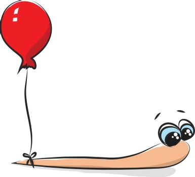 Cartoon image of a worm with a balloon vector or color illustrat