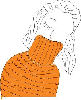 A cute little cartoon girl in her orange sweater winter clothes