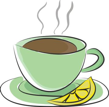 Cup and saucer with hot tea and a lemon slice vector or color il
